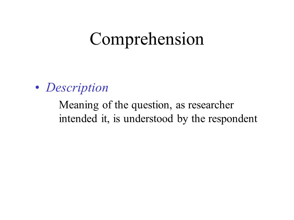 Comprehension Description
