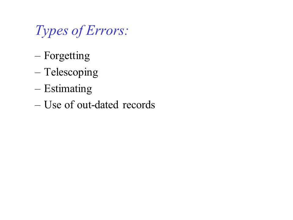 Types of Errors: Forgetting Telescoping Estimating