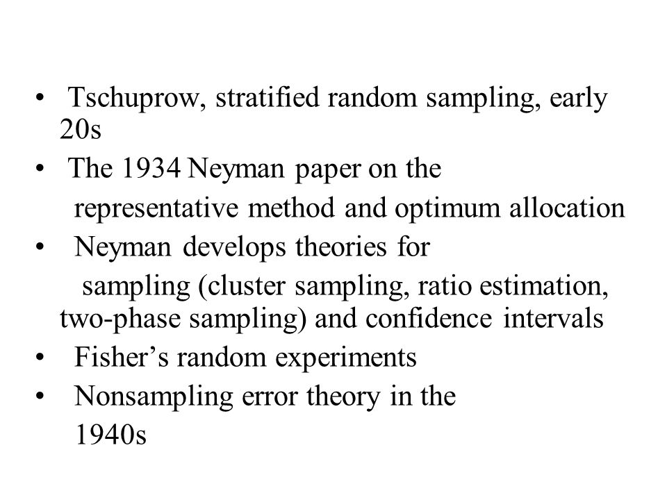 Tschuprow, stratified random sampling, early 20s
