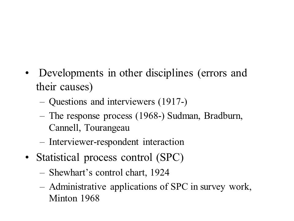 Developments in other disciplines (errors and their causes)