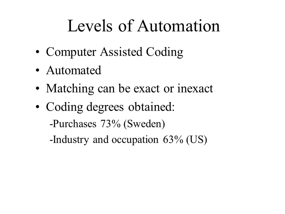 Levels of Automation Computer Assisted Coding Automated