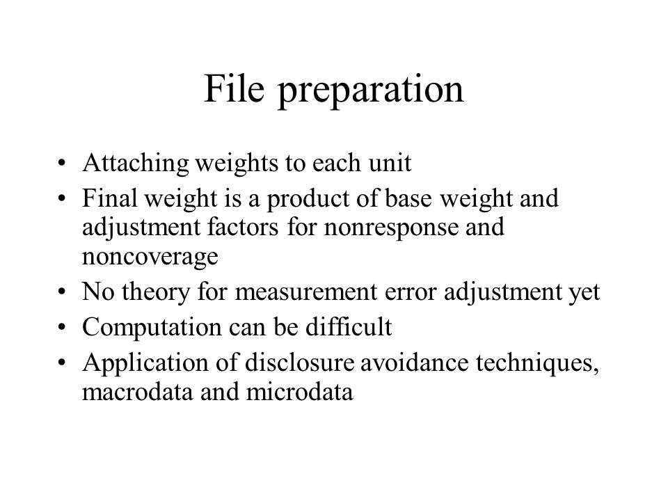 File preparation Attaching weights to each unit