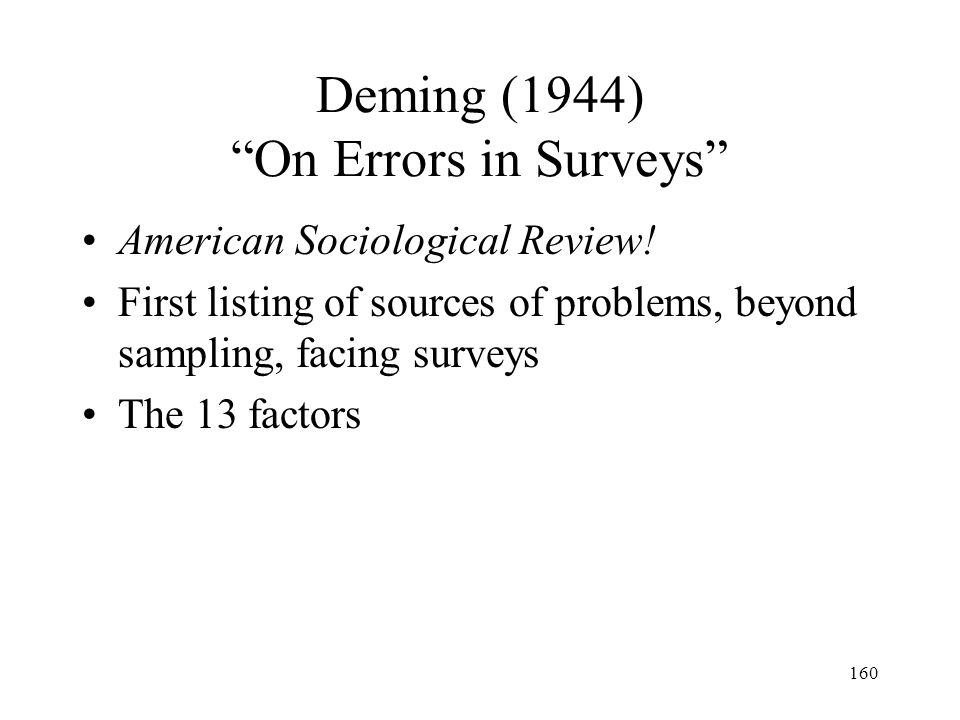 Deming (1944) On Errors in Surveys