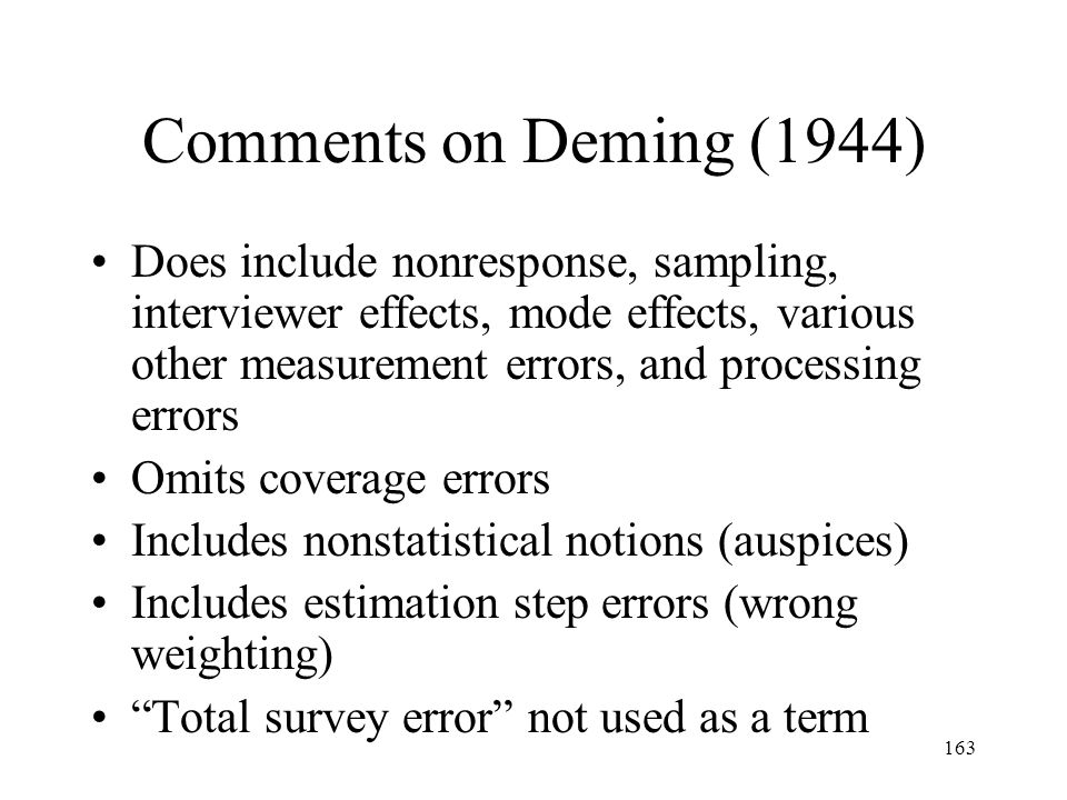 Comments on Deming (1944)