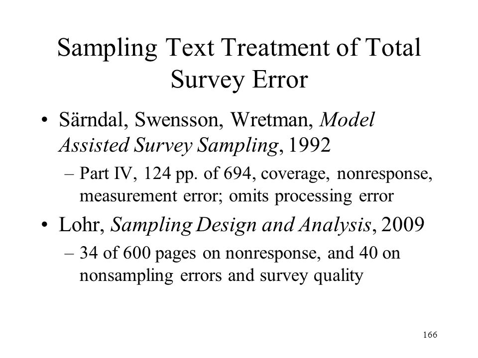 Sampling Text Treatment of Total Survey Error