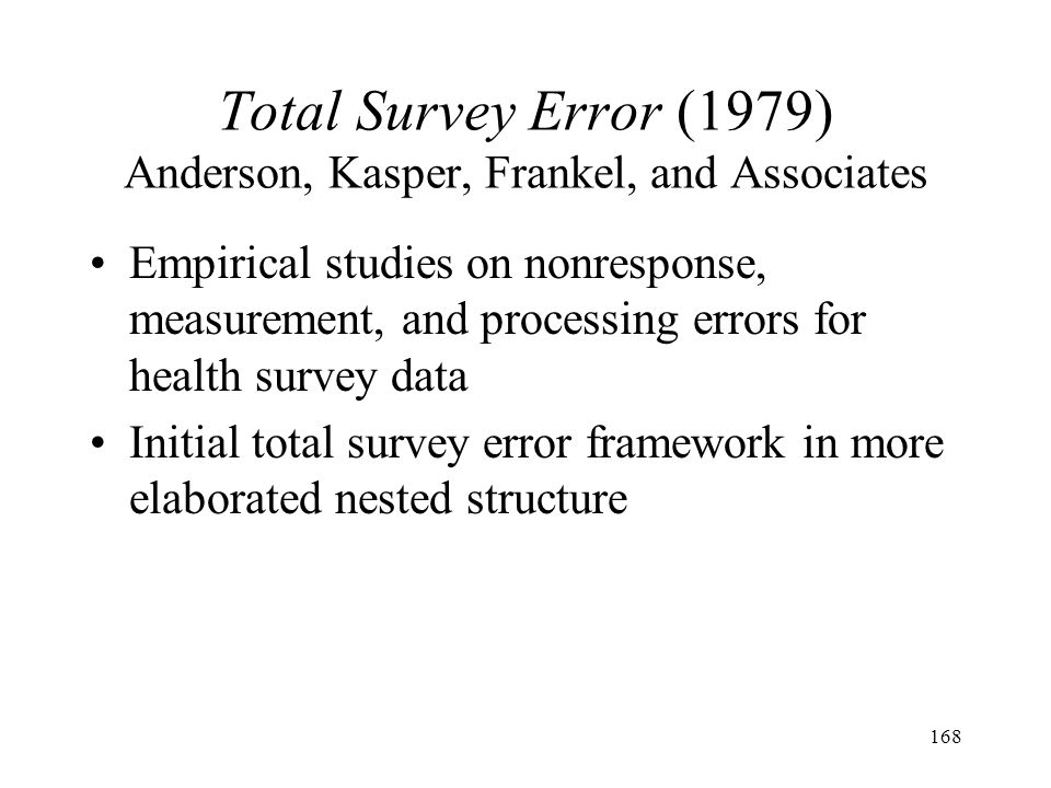 Total Survey Error (1979) Anderson, Kasper, Frankel, and Associates