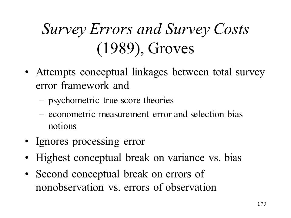 Survey Errors and Survey Costs (1989), Groves