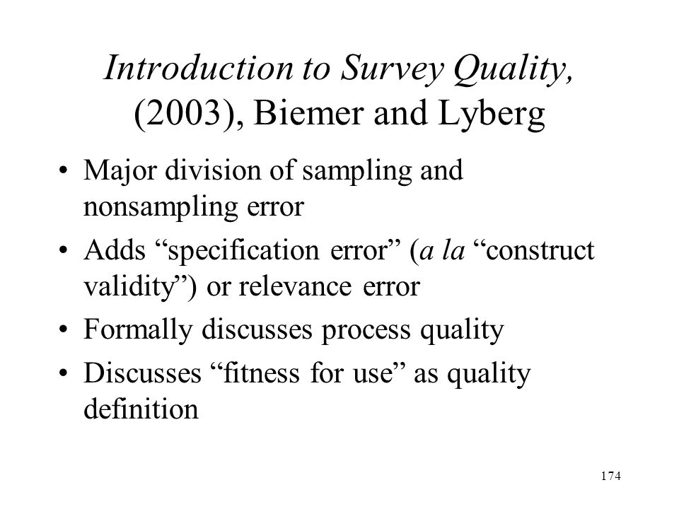 Introduction to Survey Quality, (2003), Biemer and Lyberg