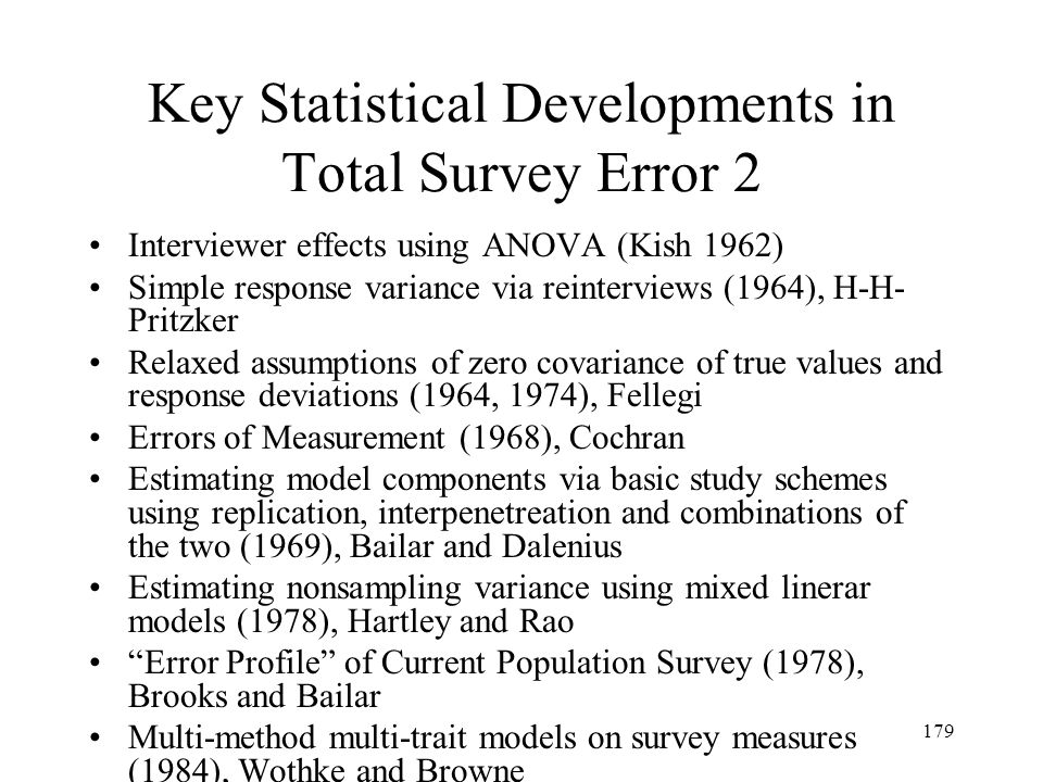Key Statistical Developments in Total Survey Error 2