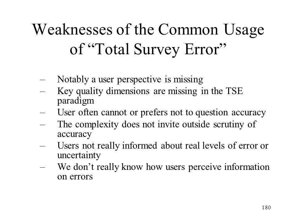 Weaknesses of the Common Usage of Total Survey Error