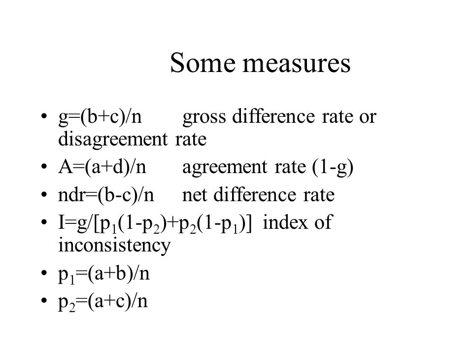 Some measures g=(b+c)/n gross difference rate or disagreement rate