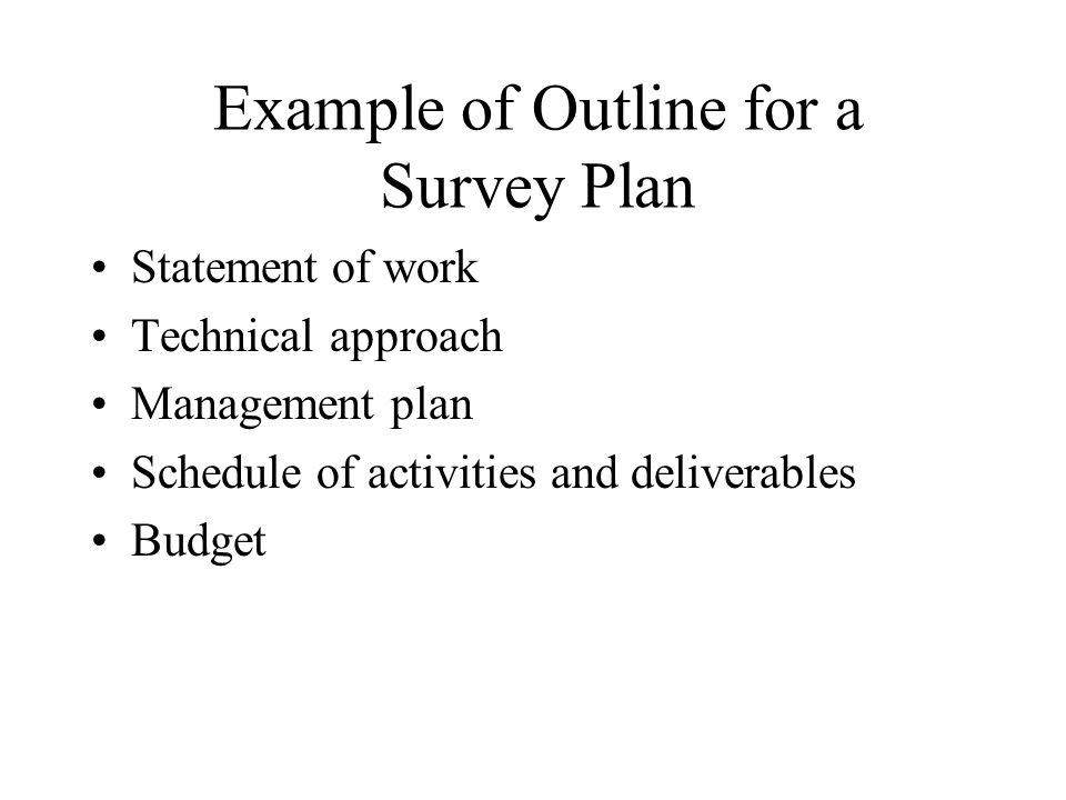 Example of Outline for a Survey Plan