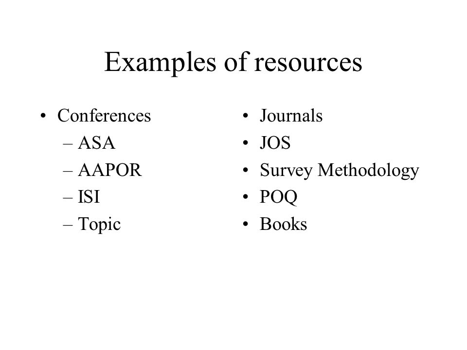 Examples of resources Conferences ASA AAPOR ISI Topic Journals JOS