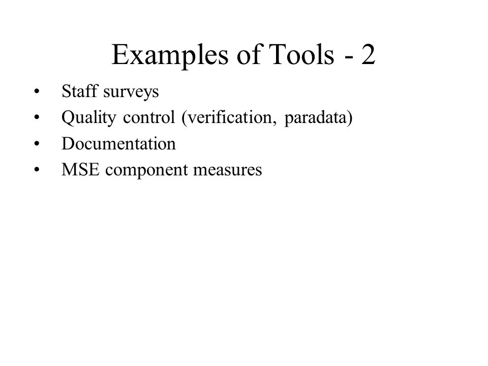 Examples of Tools - 2 Staff surveys