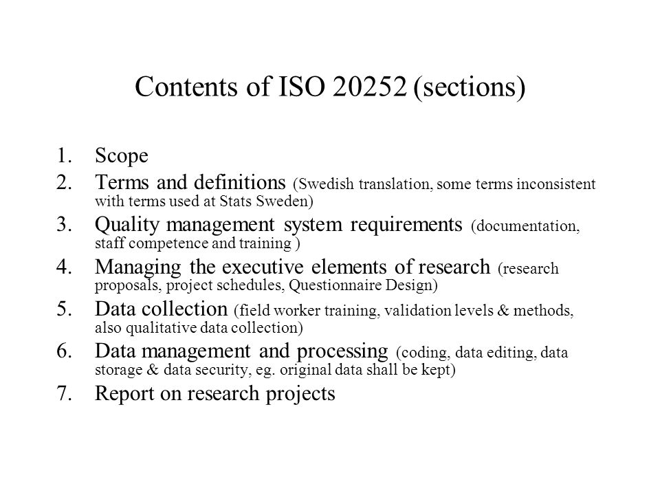 Contents of ISO 20252 (sections)