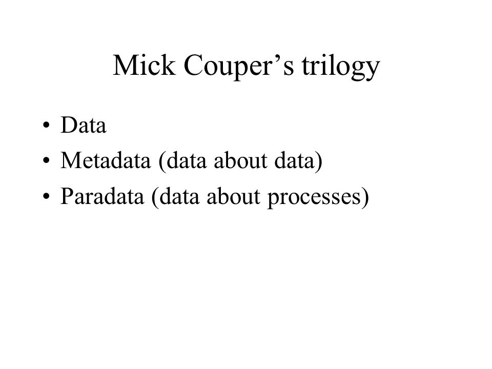 Mick Couper's trilogy Data Metadata (data about data)