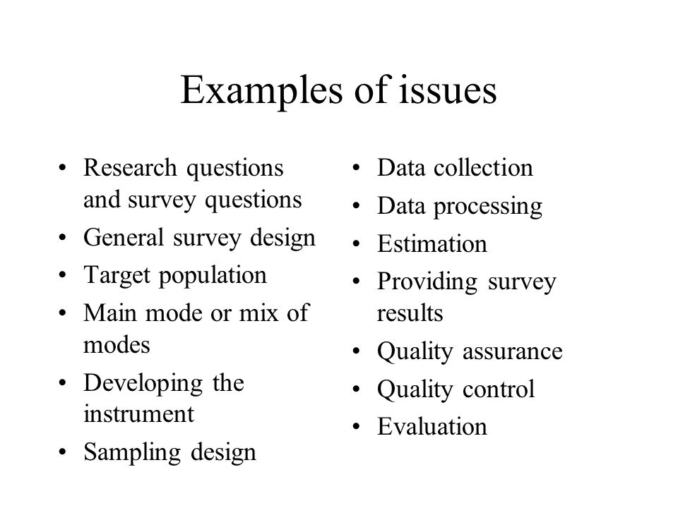 Examples of issues Research questions and survey questions