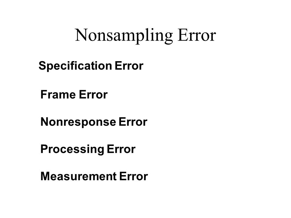 Nonsampling Error Specification Error Frame Error Nonresponse Error