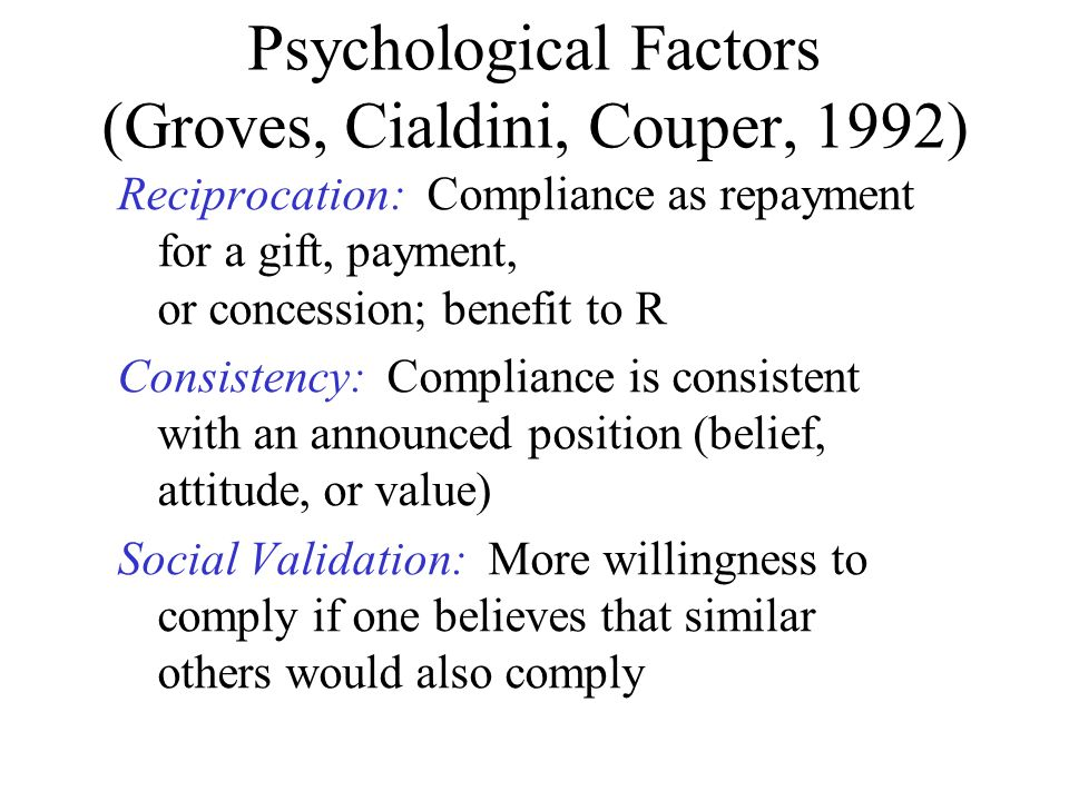 Psychological Factors (Groves, Cialdini, Couper, 1992)