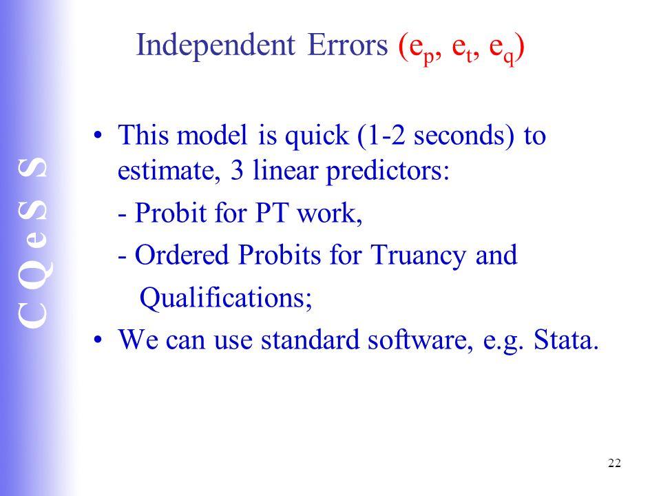 Independent Errors (ep, et, eq)