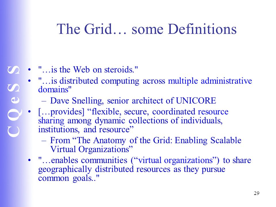 The Grid… some Definitions