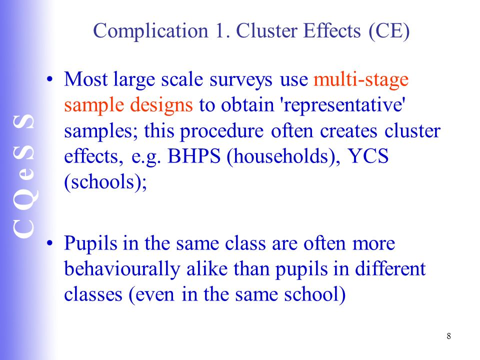 Complication 1. Cluster Effects (CE)
