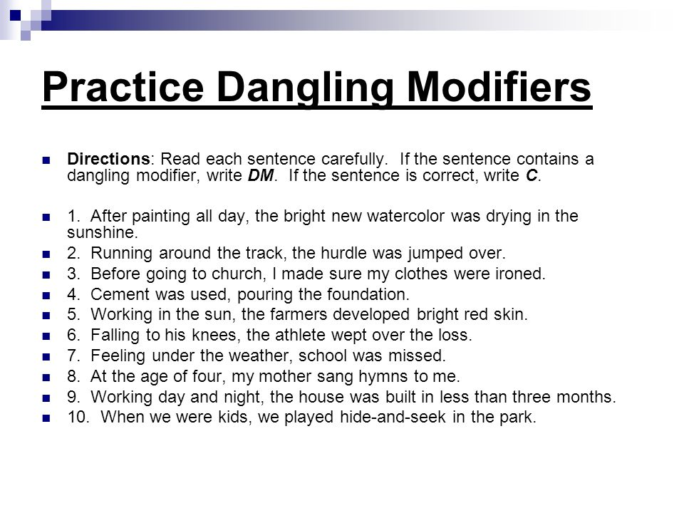 DANGLING AND MISPLACED MODIFIERS ppt download – Misplaced and Dangling Modifiers Worksheet