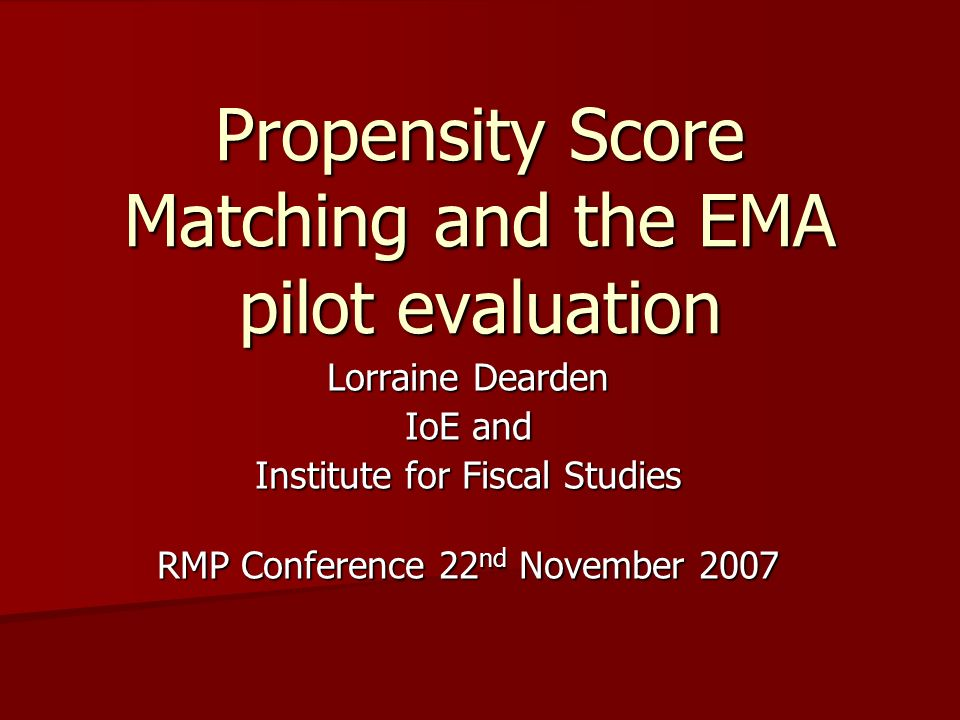 Propensity Score Matching and the EMA pilot evaluation