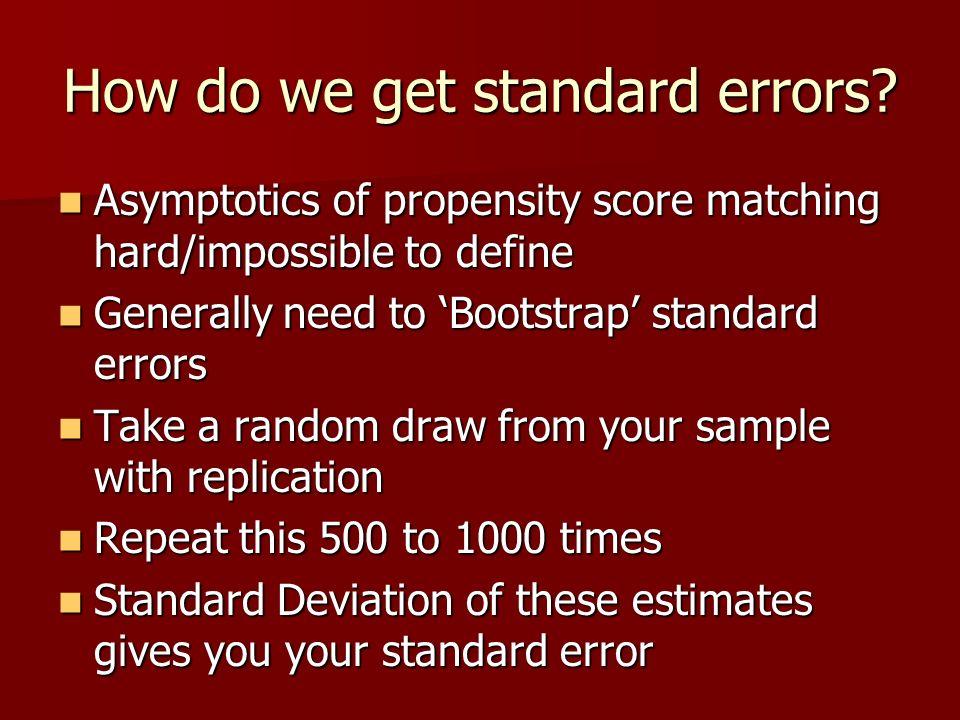 How do we get standard errors