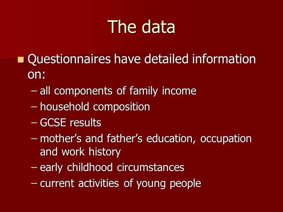 The data Questionnaires have detailed information on: