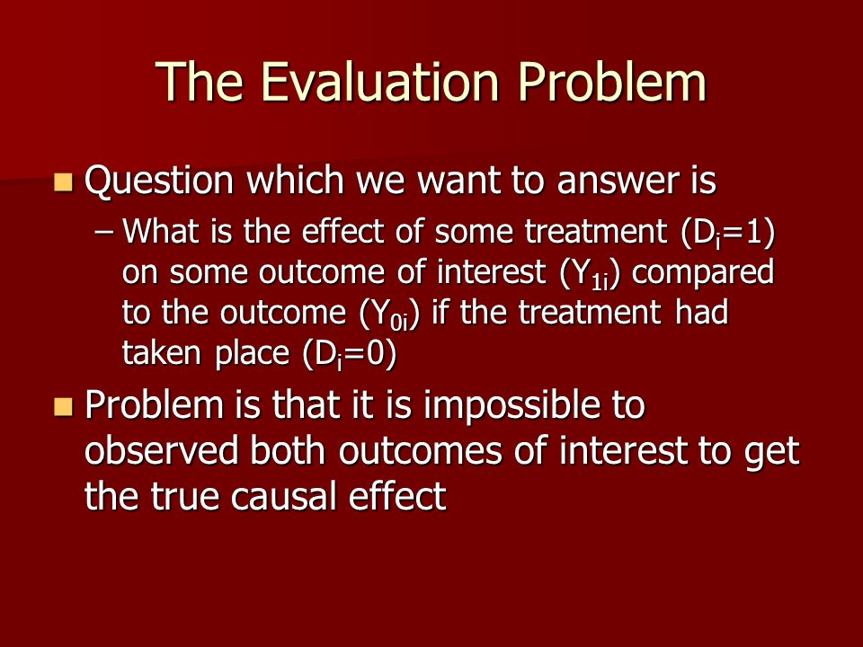 The Evaluation Problem