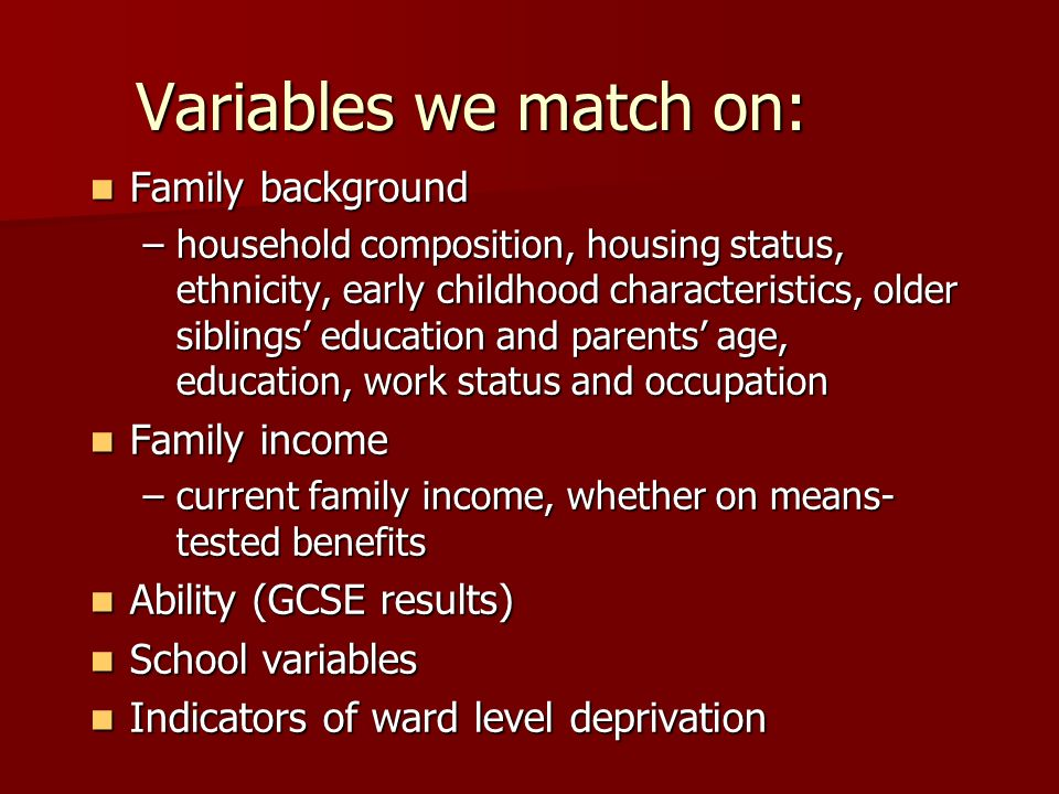 Variables we match on: Family background Family income