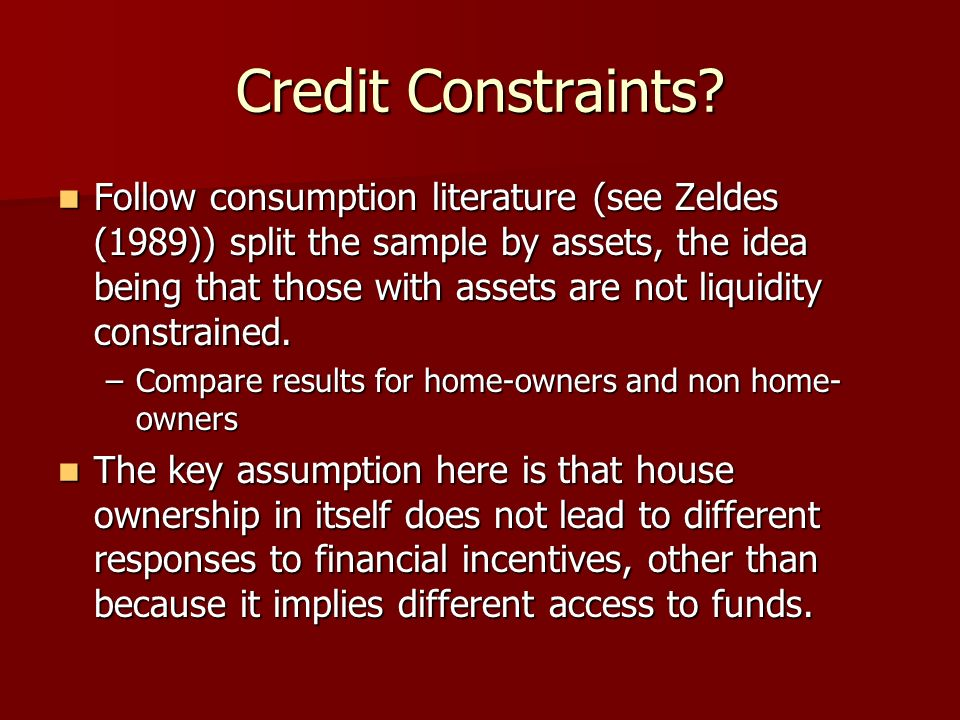 Credit Constraints