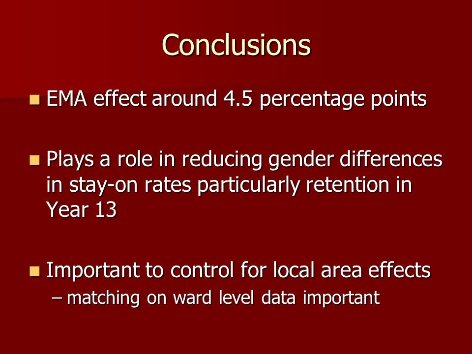 Conclusions EMA effect around 4.5 percentage points