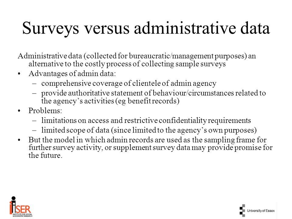 Surveys versus administrative data