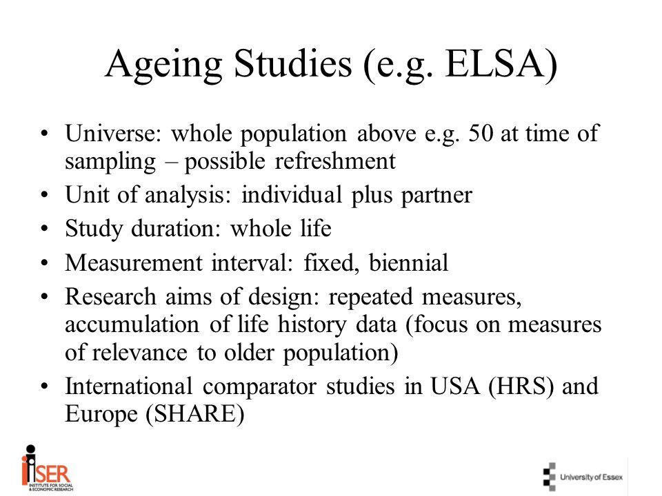 Ageing Studies (e.g. ELSA)