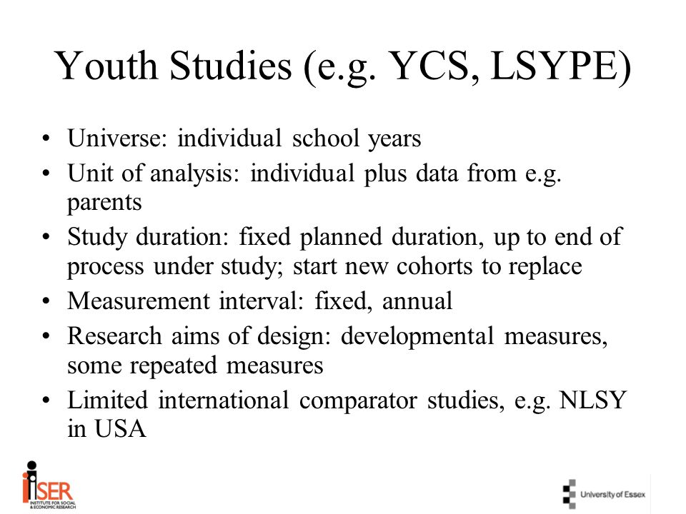 Youth Studies (e.g. YCS, LSYPE)