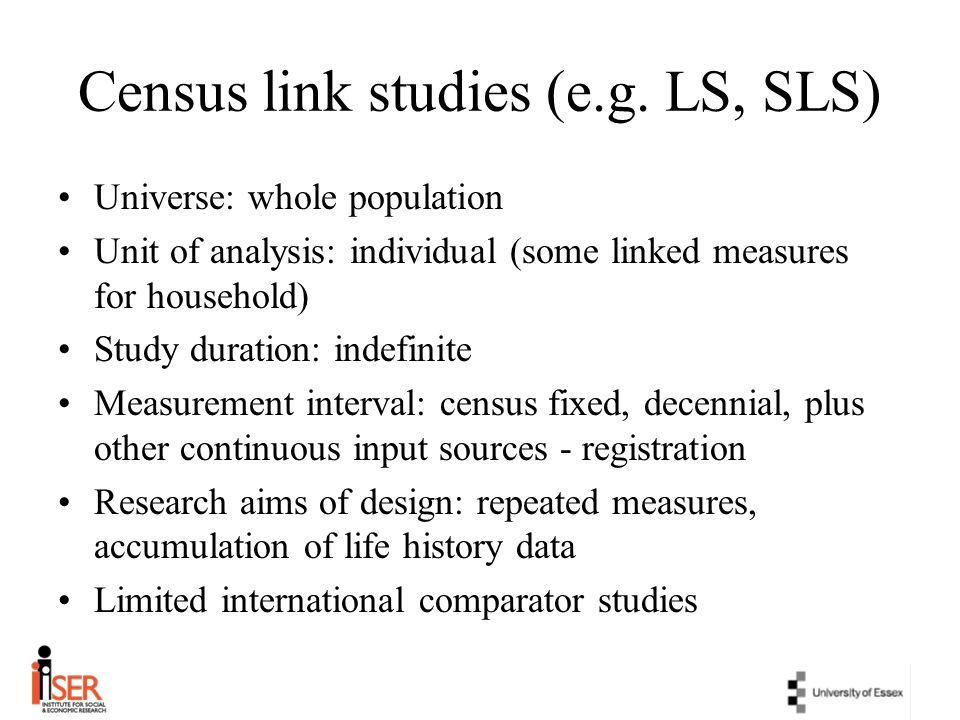 Census link studies (e.g. LS, SLS)