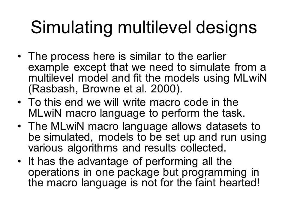 Simulating multilevel designs