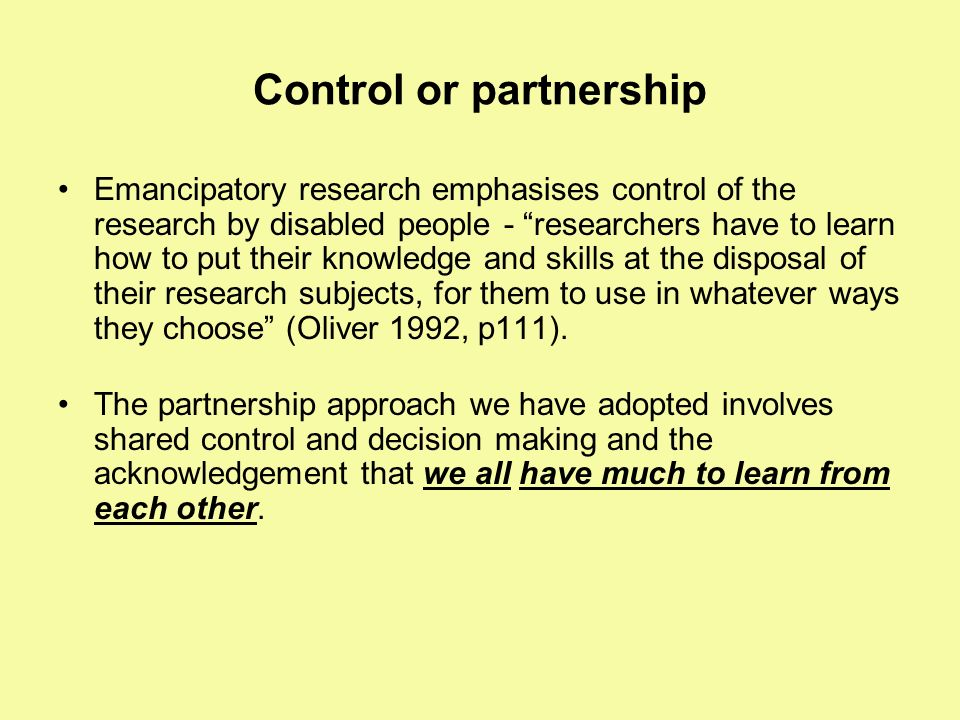 Control or partnership