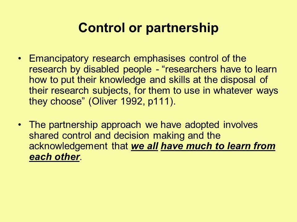 Control or partnership