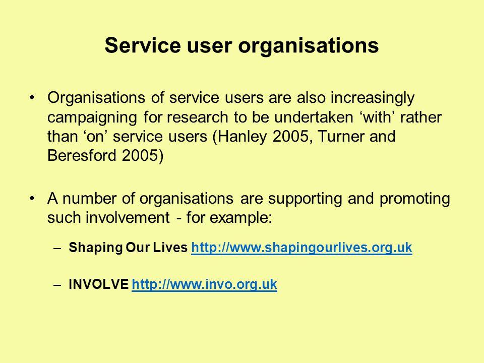 Service user organisations