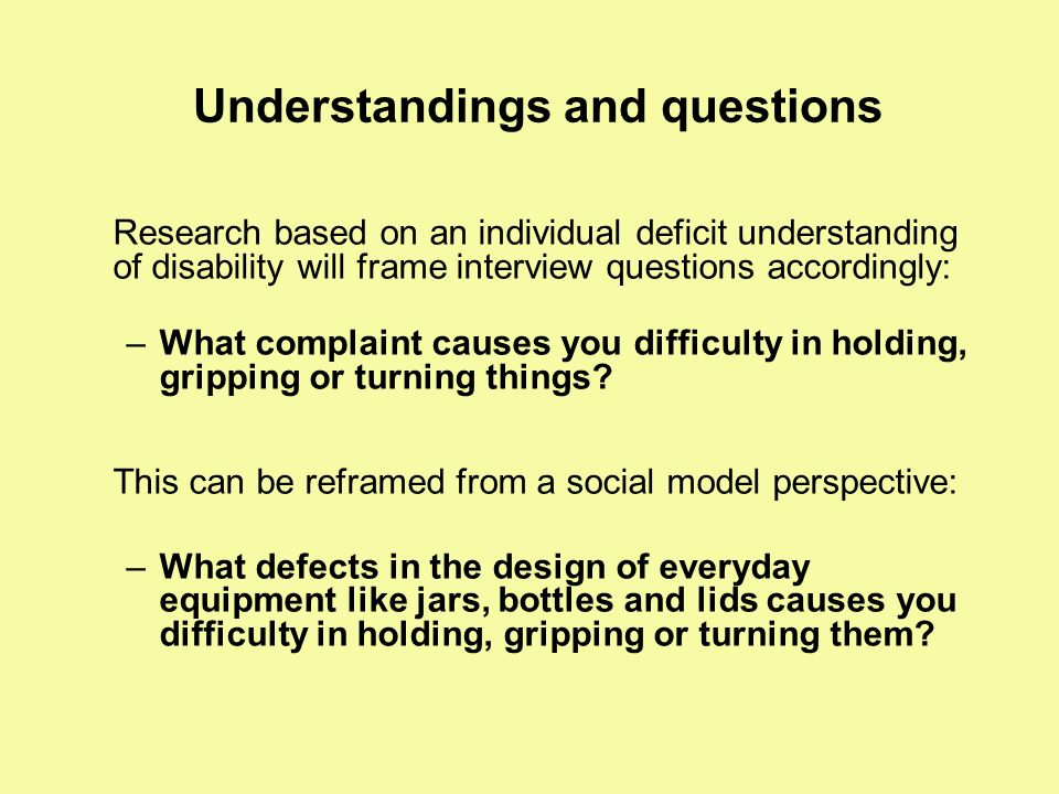 Understandings and questions