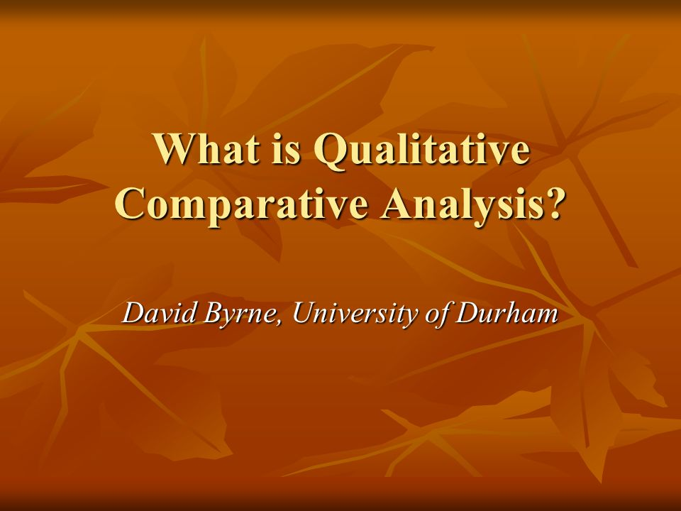 What is Qualitative Comparative Analysis
