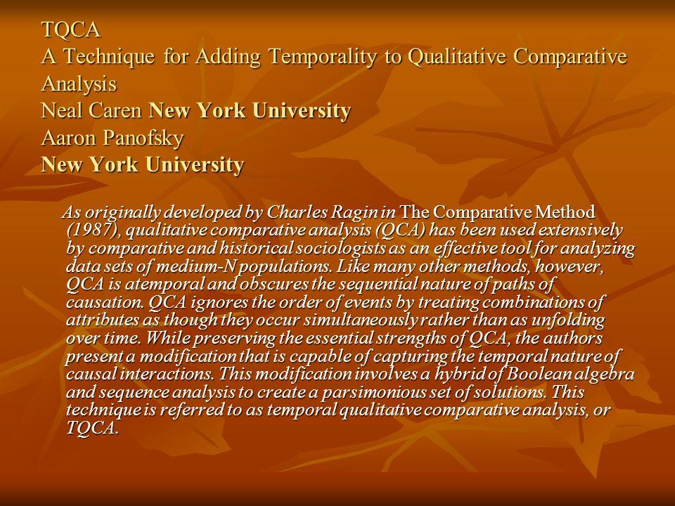 TQCA A Technique for Adding Temporality to Qualitative Comparative Analysis Neal Caren New York University Aaron Panofsky New York University