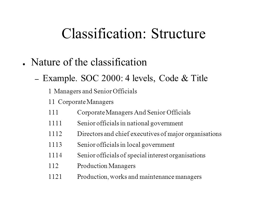 Classification: Structure