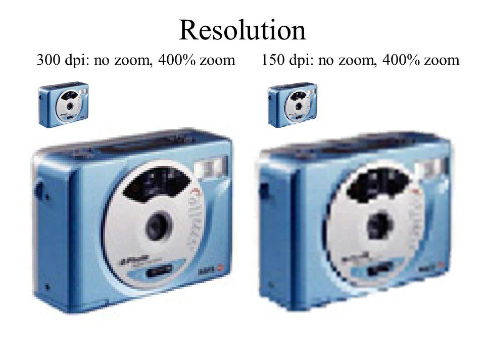 Resolution 300 dpi: no zoom, 400% zoom 150 dpi: no zoom, 400% zoom