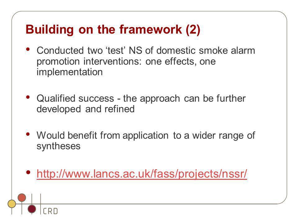 Building on the framework (2)