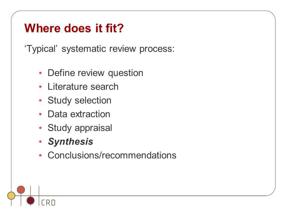 Where does it fit 'Typical' systematic review process: