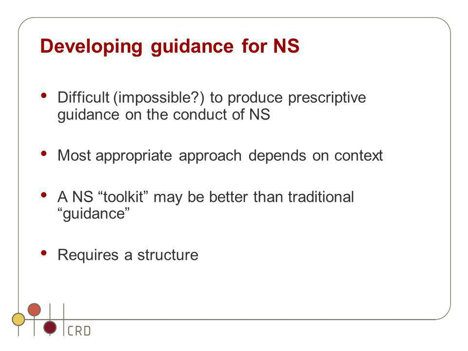 Developing guidance for NS